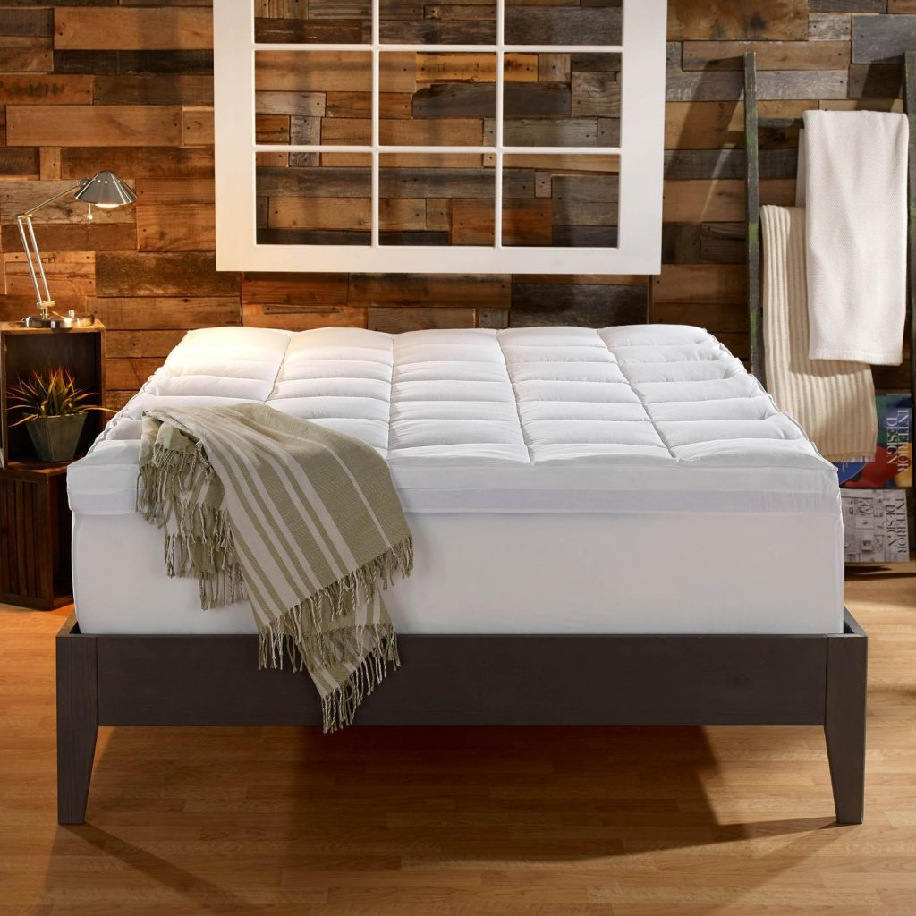 Sleep Innovations 4-inch Dual Layer Mattress Topper cover on