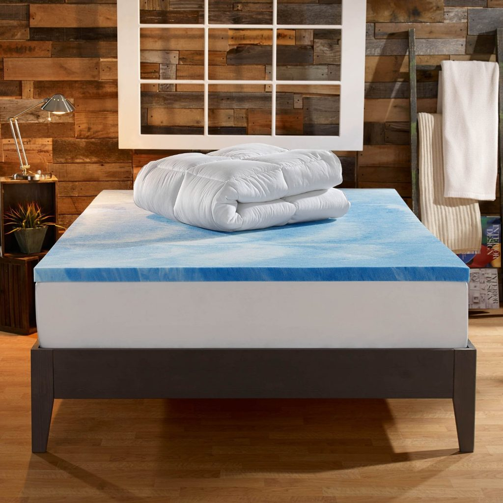 Sleep Innovations 4-inch Dual Layer Mattress Topper quilted cover on memory foam